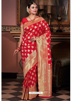 Red Pure Silk Weaving Party Wear Saree
