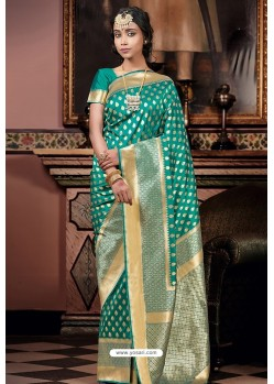 Teal Pure Silk Weaving Party Wear Saree
