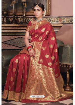 Maroon Pure Silk Weaving Party Wear Saree