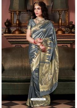 Grey Pure Silk Weaving Party Wear Saree