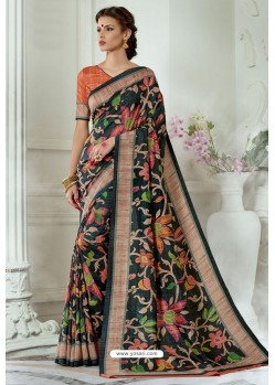 Black Silk Latest Party Wear Saree