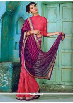 Ethnic Georgette Print Work Designer Traditional Sarees