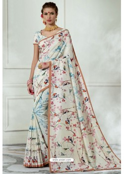White Silk Latest Party Wear Saree