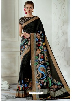 Adorable Black Silk Latest Party Wear Saree