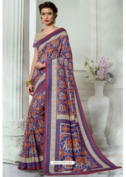 Blue Silk Latest Party Wear Saree