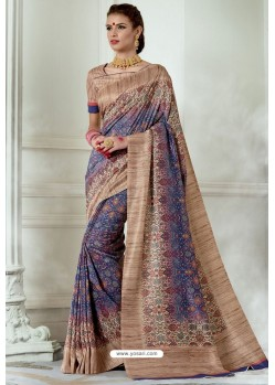 Blue And Beige Silk Latest Party Wear Saree