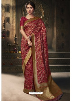 Red Banarasi Silk Latest Designer Saree