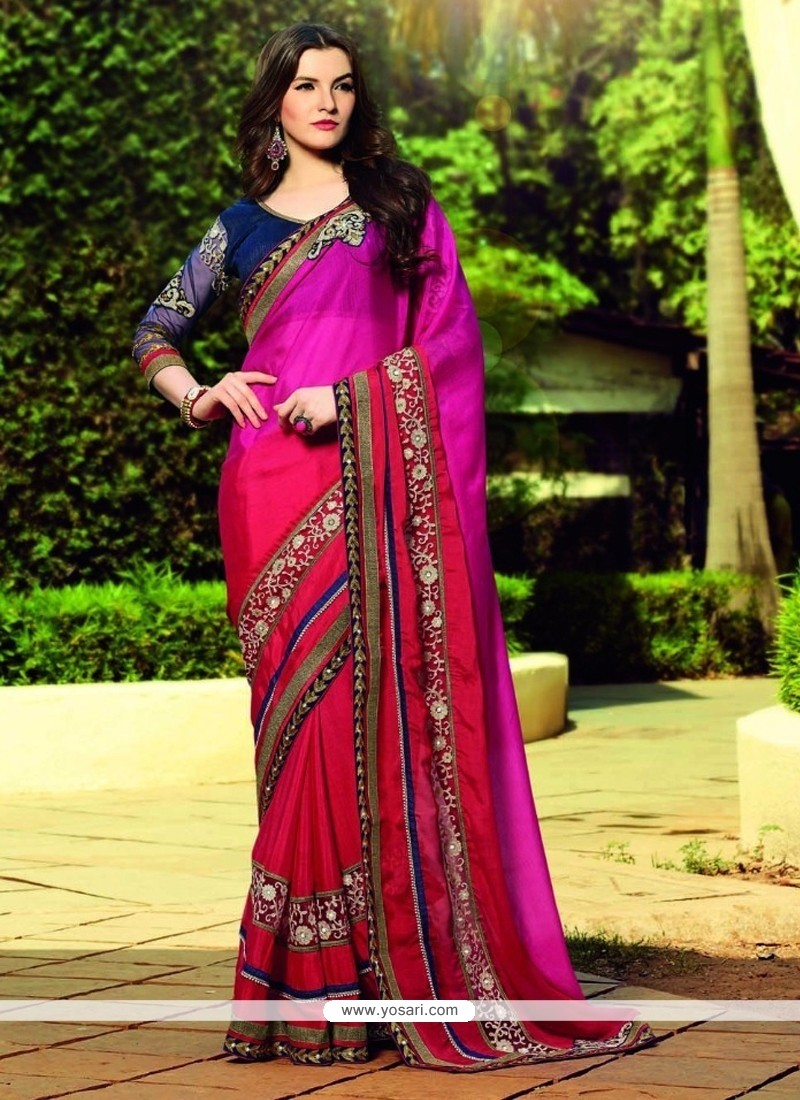 Gleaming Georgette Hot Pink And Red Lace Work Designer Saree