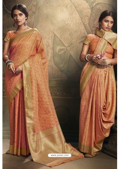 Orange Banarasi Silk Latest Designer Saree