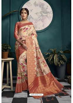 Peach Designer Silk Party Wear Digital Printed Saree