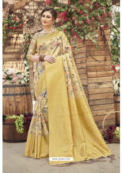 Yellow Designer Silk Party Wear Digital Printed Saree