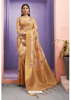 Orange Designer Silk Party Wear Digital Printed Saree