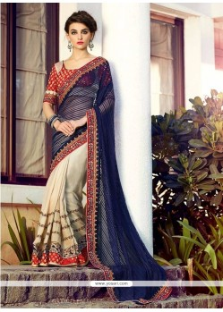 Delectable Net Embroidered Work Designer Half N Half Saree