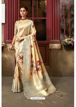 Cream Designer Silk Party Wear Digital Printed Saree