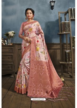 Pink Designer Silk Party Wear Digital Printed Saree