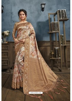 Beige Designer Silk Party Wear Digital Printed Saree