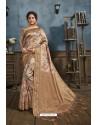 Beige Designer Silk Party Wear Digital Printed Saree