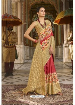 Red Designer Silk Party Wear Digital Printed Saree