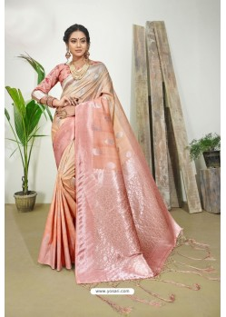 Peach Designer Silk Digital Printed Saree