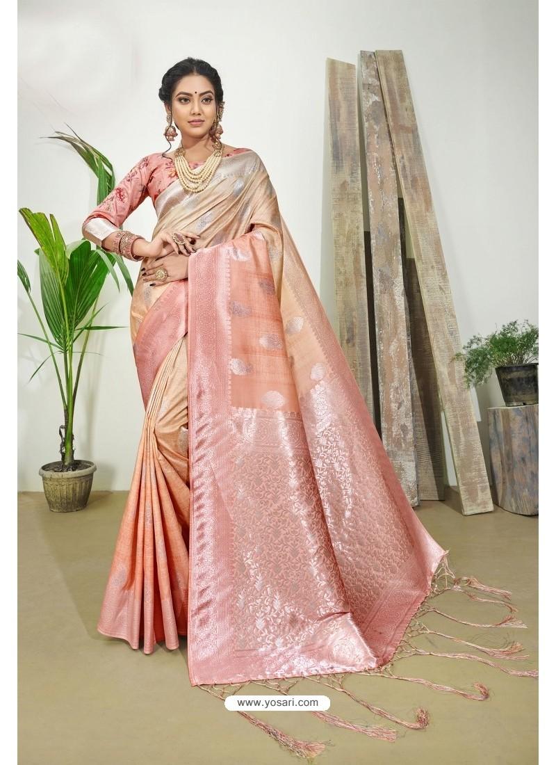 Peach Designer Silk Digital Printed Saree