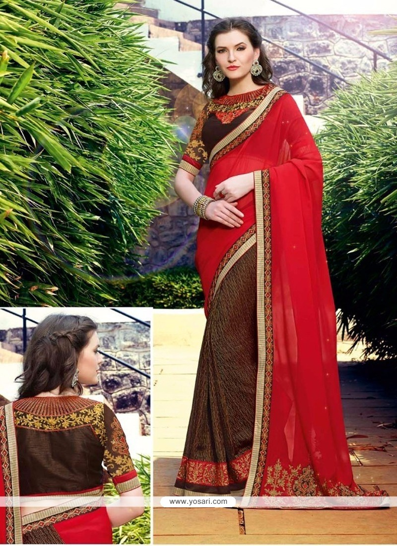 Captivating Brown And Red Embroidered Work Georgette Half N Half Designer Saree