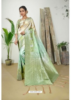 Green And Cream Designer Silk Digital Printed Saree