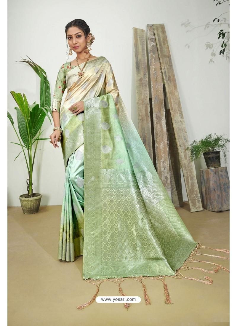 Green And Cream Designer Silk Digital Printed Saree