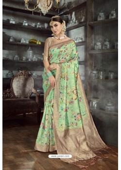 Parrot Green Designer Silk Digital Printed Saree