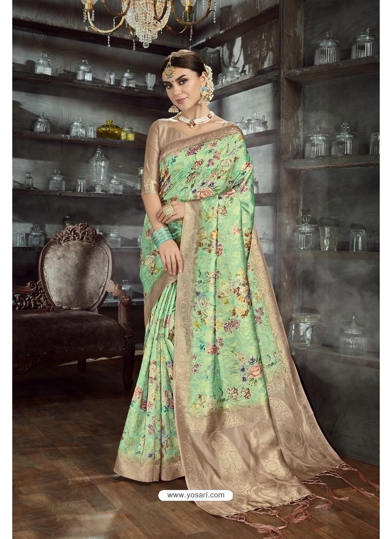 Parrot Green Designer Silk Digital Printed Saree