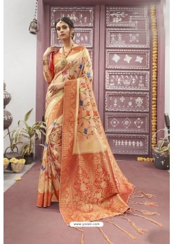 Light Orange Designer Silk Digital Printed Saree