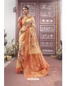 Light Orange Designer Silk Digital Printed Saree