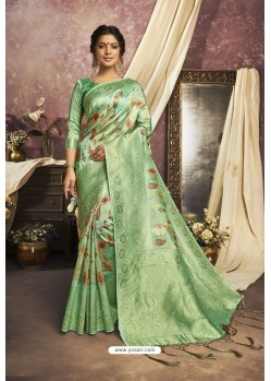 Glorious Green Designer Silk Digital Printed Saree