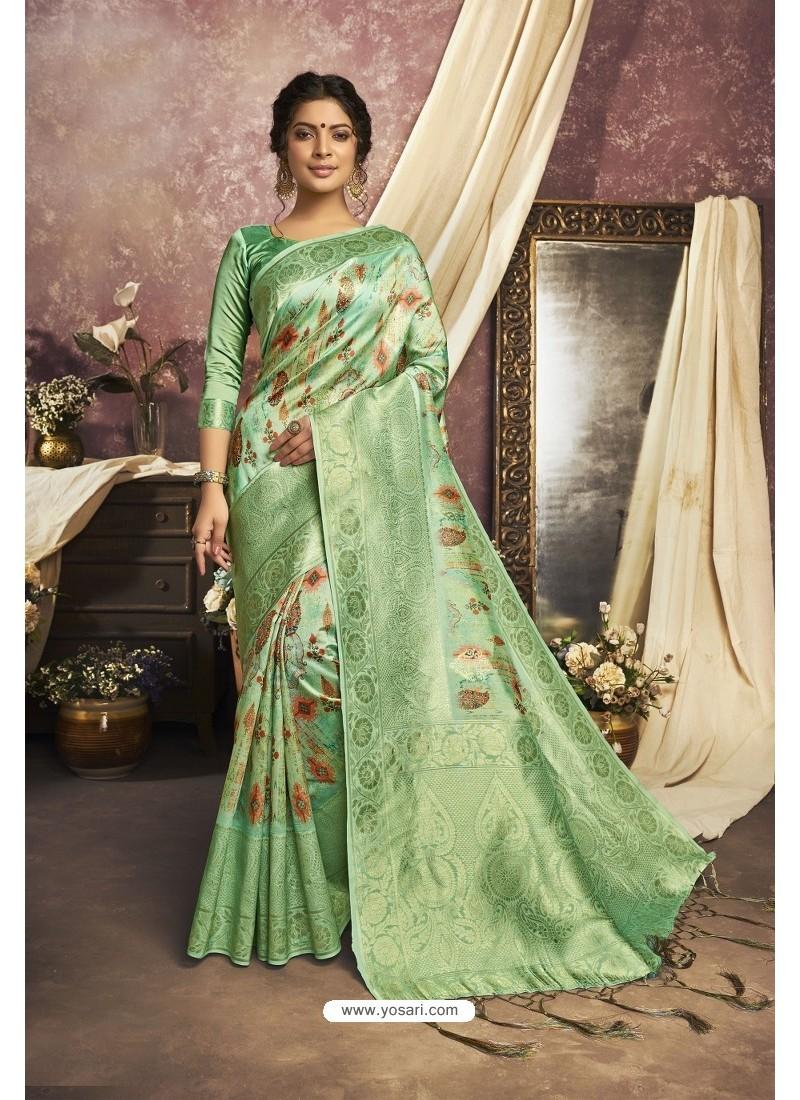 Glorious Green Designer Silk Digital Printed Saree