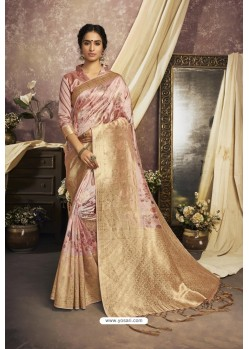 Latest Peach Designer Silk Digital Printed Saree