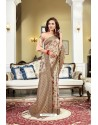 Off White Designer Silk Digital Printed Saree
