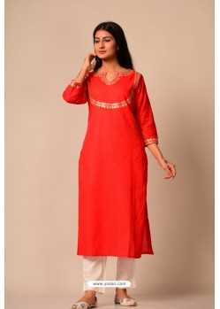 Red South Cotton Casual Wear Readymade Kurti