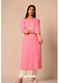 Pink South Cotton Casual Wear Readymade Kurti