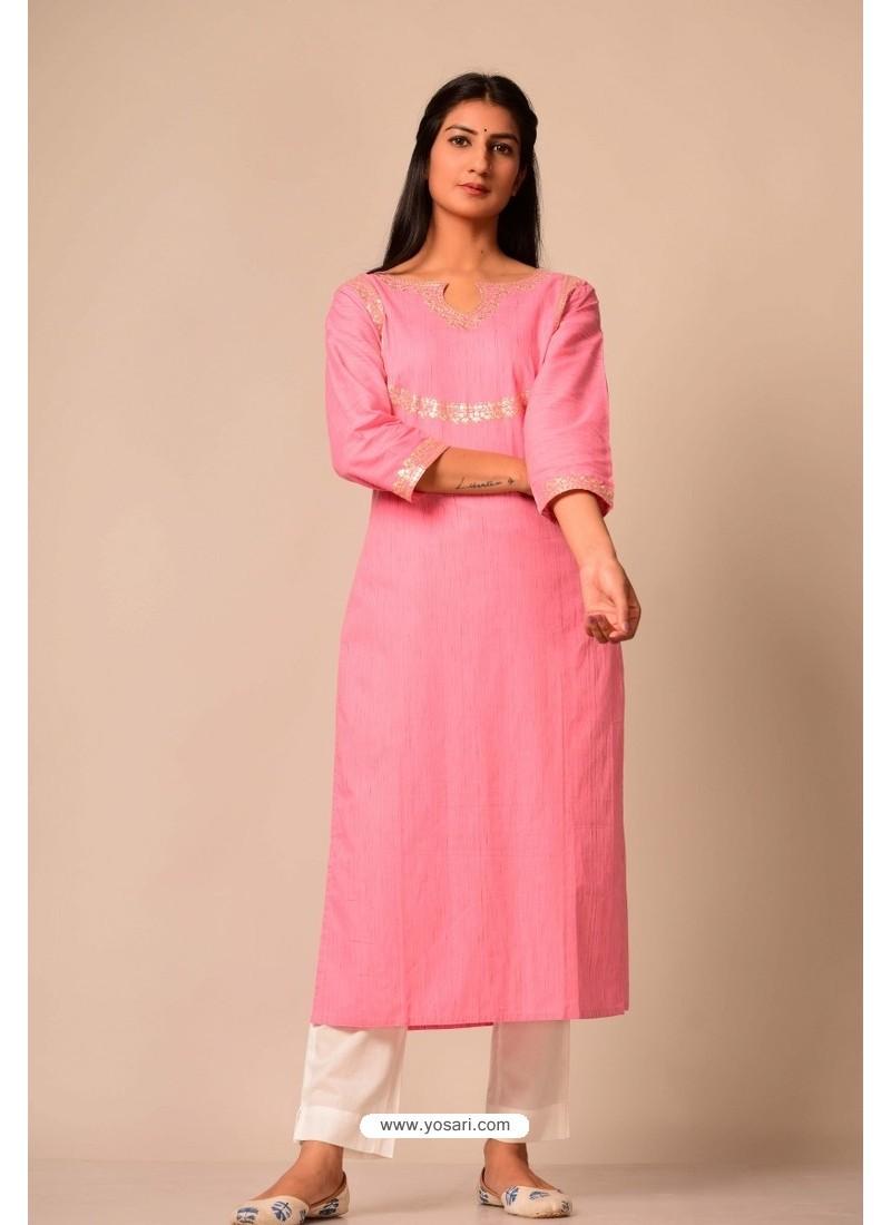 Pink South Cotton Casual Wear Readymade Kurti