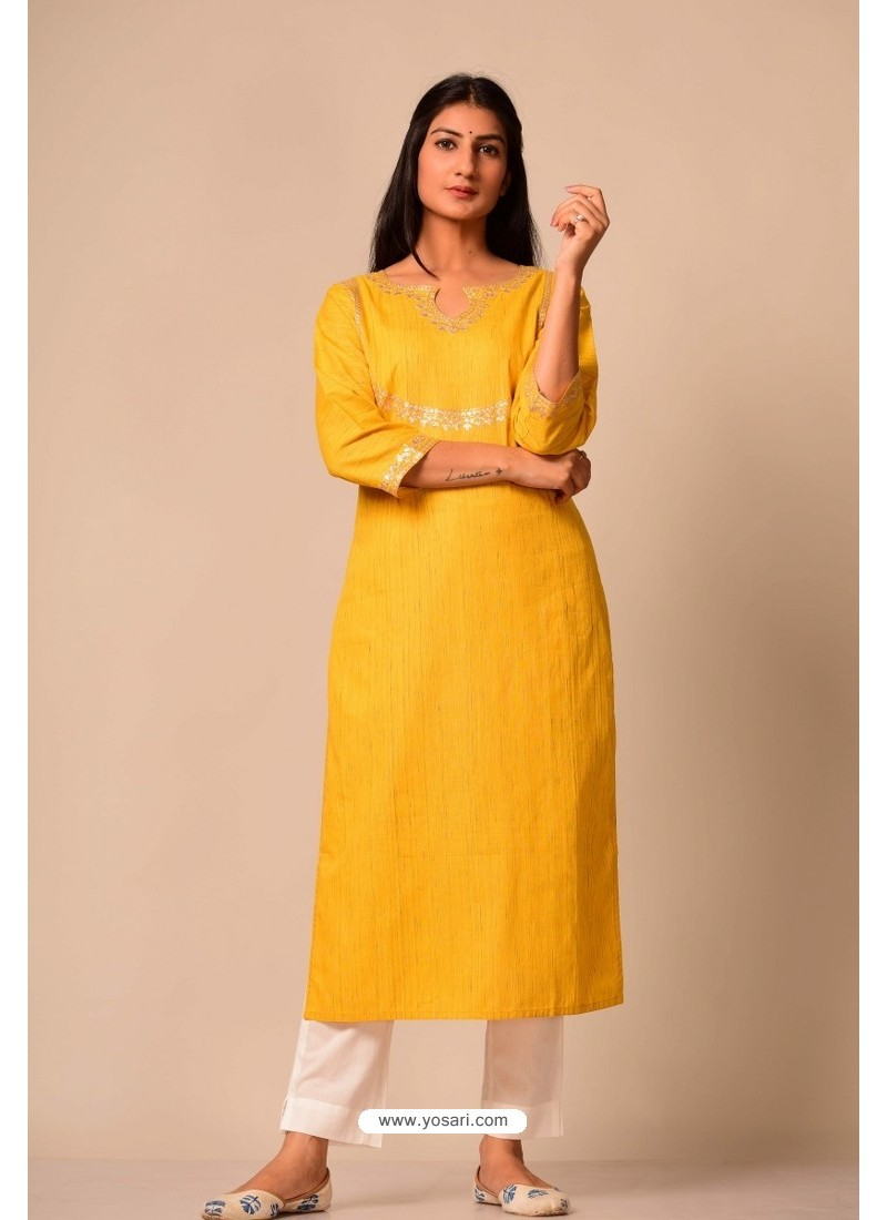 Yellow South Cotton Casual Wear Readymade Kurti