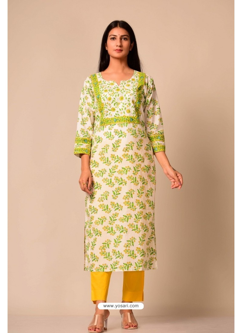 Pleasant White Cotton Casual Wear Readymade Kurti