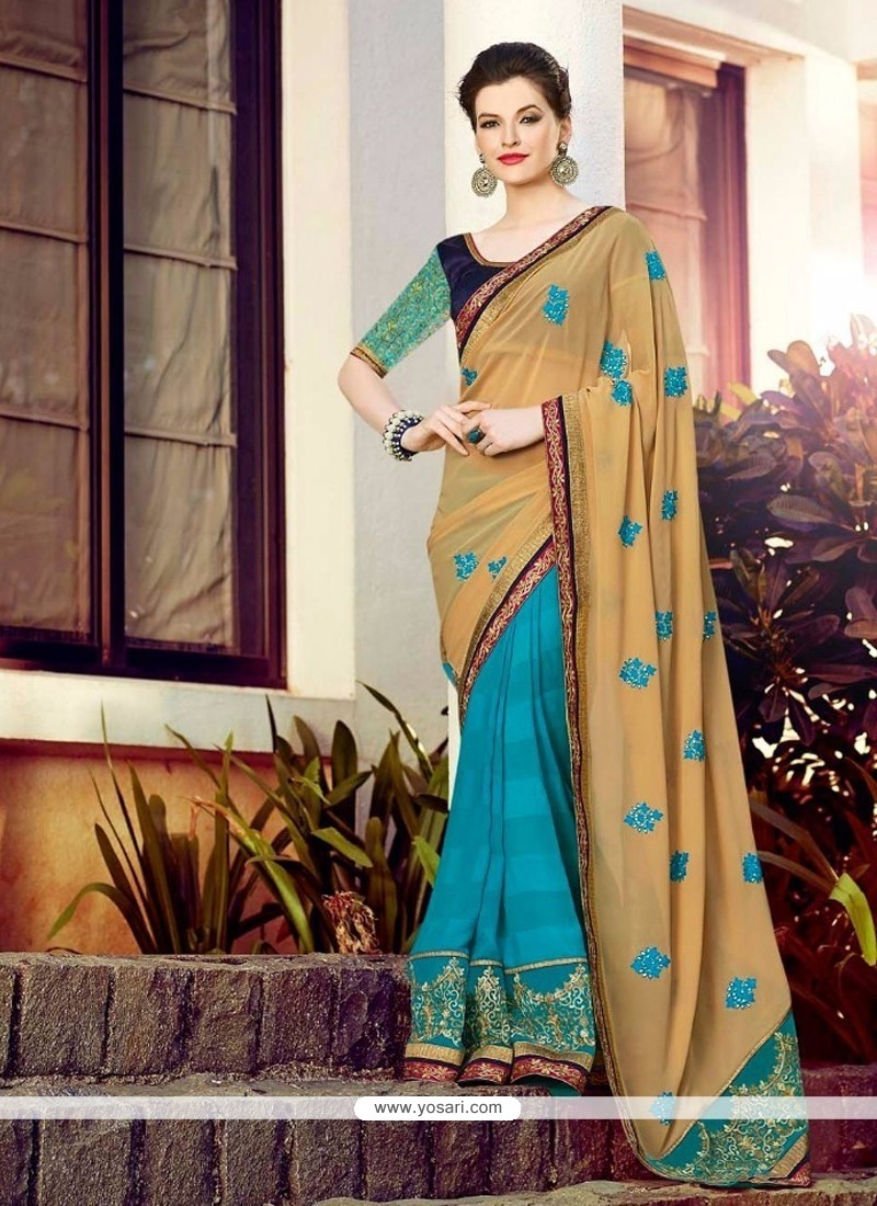 Perfervid Georgette Turquoise And Brown Half N Half Saree