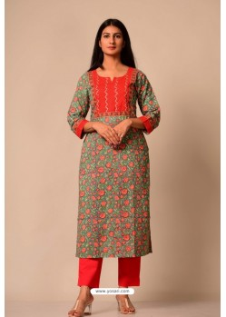 Dark Green Cotton Casual Wear Readymade Kurti