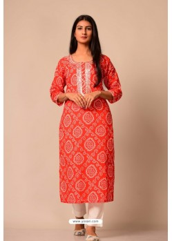 Red Cotton Casual Wear Readymade Kurti