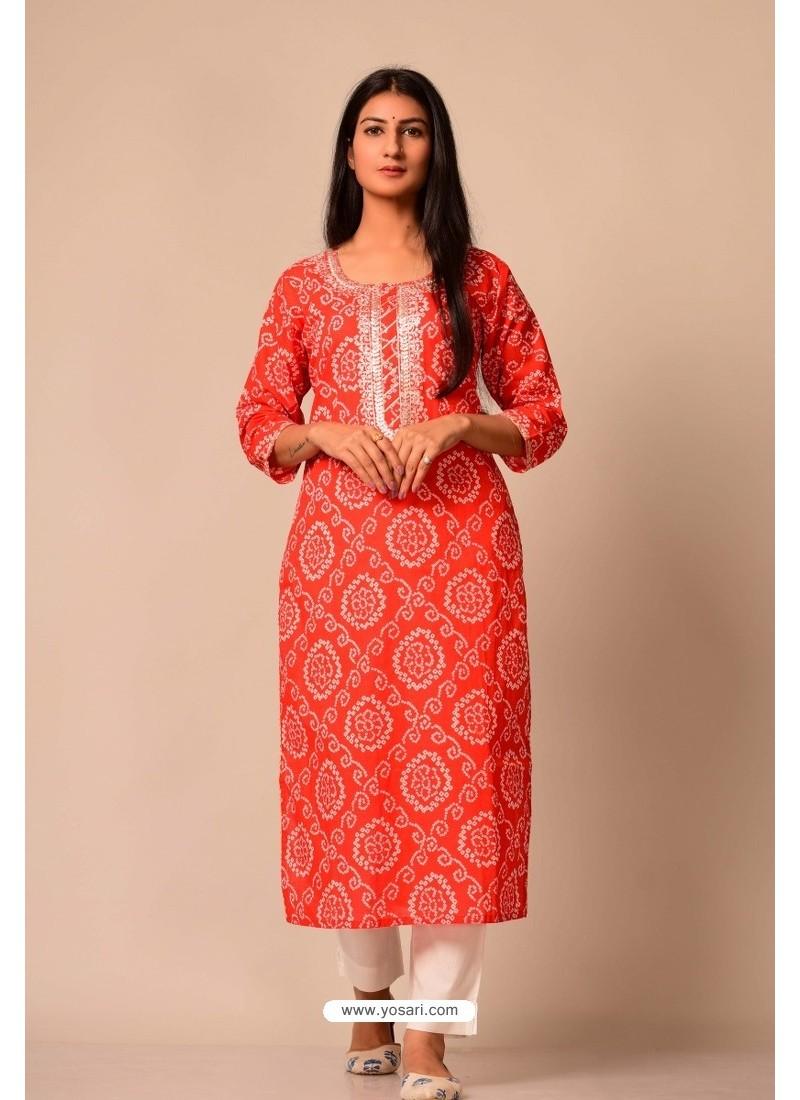 Red Cotton Casual Wear Readymade Kurti