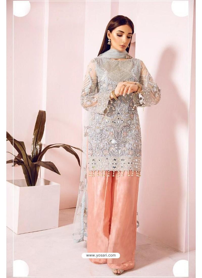 Grey And Peach Heavy Handwork Designer Pakistani Style Suit