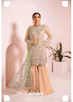 Cream Heavy Handwork Designer Pakistani Style Suit