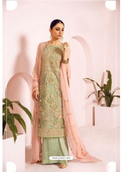 Sea Green Heavy Handwork Designer Pakistani Style Suit