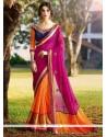 Fascinating Hot Pink And Orange Embroidered Work Half N Half Designer Saree