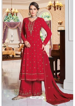 Red Party Wear Heavy Faux Georgette Palazzo Suit