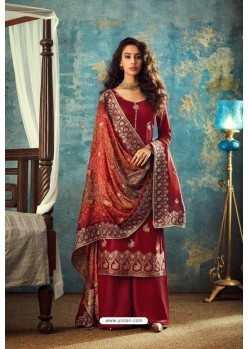 Red Designer Jacquard Party Wear Palazzo Suit